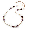 Long Acrylic Bead Gold Plated Chain Necklace - 90cm L