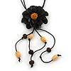 Black Leather Daisy Pendant with Long Cotton Cord - 80cm L - Adjustable