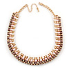 3 Strand Silk Ribbon Collar Style Necklace In Gold Tone Metal - 44cm L/ 8cm Ext