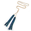 Long Blue Chain Tassel Necklace In Gold Tone Metal - 74cm L/ 19cm L (Tassel)