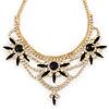 Statement Black/ Clear Crystal Stone Flower Embellished Necklace In Gold Plating - 42cm L/ 8cm Ext