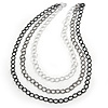 3 Strand, Layered Textured Oval Link Necklace (Black/ Grey/ Light Silver Tone) - 86cm L