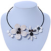 Off White Leather, Shell Bead Floral Wire Choker Necklace with Black Cotton Cord - Adjustable