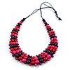 Deep Purple/ Pink/ Red/ Black Wooden Bead Black Cord Necklace - 70cm L