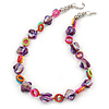 Purple Shell Nuggets with Multicoloured Acrylic Rings Necklace In Silver Tone - 52cm L/ 4cm Ext