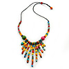 Multicoloured Wood Bead with Black Cotton Cord Bib Necklace - 60cm L