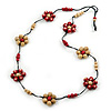 Long Cream/ Beet Red Wooden Flower Black Cotton Cord Necklace - 106cm L