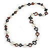 Black/ Brown/ White Open Cut Bone Rings and Glass Bead Necklace - 78cm L