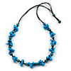 Long Blue/ Teal Wooden Bead Black Cotton Cord Necklace - 80cm L