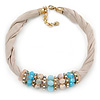 Beige Fabric Wire Choker Necklace with Light Blue/ Cream Bead and Crystal Rings In Gold Tone - 41cm L/ 5cm Ext
