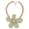 Oversized Light Green Resin Flower Pendant with Chunky Oval Link Chain In Gold Plating - 44cm L/ 5cm Ext