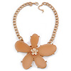 Oversized Cream Resin Flower Pendant with Chunky Oval Link Chain In Gold Plating - 44cm L/ 5cm Ext