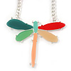 Oversized Multicoloured Resin Dragonfly Pendant with Chunky Oval Link Chain In Light Silver Tone - 52cm L/ 4cm Ext