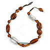 Transparent, Amber Brown Ceramic, Glass Beads Black Cord Necklace - 44cm L
