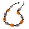 Orange/ Taupe Ceramic Oval Bead with Black Cotton Cord Necklace - 56cm L