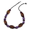 Purple/ Brown Wood, Resin Bead Cotton Cord Necklace - 64cm L