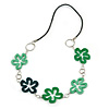 Green Acrylic Floral with Black Faux Leather Cord Necklace - 72cm L