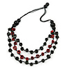Layered Red/ Green/ Black Bone Bead Cotton Cord Necklace - 78cm L
