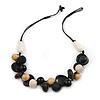 Wood, Ceramic, Cotton Cluster Bead Necklace with Black Cord - 54cm L
