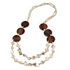 Antique White Shell Nugget, Glass and Wood Bead Layered Necklace - 88cm L