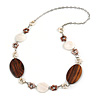 White/ Brown Shell Flowers, Oval Wood Bead Chain Long Necklace In Silver Tone - 86cm L