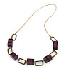 Statement Purple Wood Bead and Bronze Square Link Cord Necklace - 80cm L