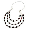 Multi-layered Dark Brown Wood Bead Cord Necklace - 86cm L