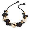 Black/ Natural Wood Bead Black Cord Necklace - 52cm L