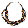 3 Strand Wood Button Bead Necklace In Brown/ Black/ Natural - 70cm L
