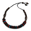 Multicoloured Wood Bead with Brown Cotton Cord Necklace - 70cm L