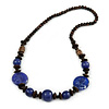 Brown Wood Purple Resin Bead Long Necklace - 76cm L
