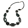 Dark Green Wood Bead Wire Detailing with Black Faux Leather Cord Necklace - 66cm L