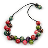 Multicoloured Wood Bead Black Cotton Cord Necklace - 64cm L