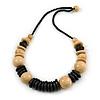Natural/ Black Wood Bead Black Cord Necklace - 66cm L