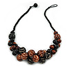 Black/ Brown Cluster Wood Bead With Black Cord Necklace - 54cm L