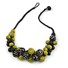 Black/ Lime Green Cluster Wood Bead With Black Cord Necklace - 54cm L