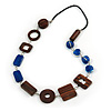 Blue Glass, Brown Wood Bead with Black Faux Leather Cord Necklace - 80cm L