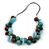 Chunky Cluster Wood, Resin Bead Black Cotton Cord Necklace (Light Blue, Teal, Brown, Black) - 72cm L/ 185g
