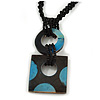 Black/ Blue Wood Square Pendant with Braided Black Glass Bead Cord - 46cm L/ 9cm Pendant