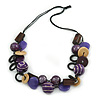 Wood and Acrylic Bead Necklace with Black Cotton Cord - 64cm L