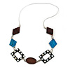 Geometric Brown/ Teal Wood and Shell Bead Silver Rubber Cord Necklace - 80cm Long