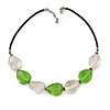 Light Green and Transparent Resin Bead with Black Faux Leather Cord Necklace - 50cm L/ 3cm Ext