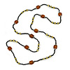 Long Black/ Brown/ Olive Glass Bead Necklace - 120cm L