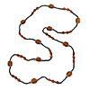 Long Black/ Brown Glass Bead Necklace - 120cm L