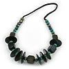 Green Wood Bead with Cotton Cord Necklace - 60cm L