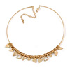 Sweet Heat Charm Bar Choker Style Necklace In Gold Plated Metal - 39cm L/ 8cm Ext