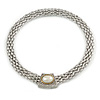 Statement Wide Mesh Chain Magnetic Necklace with Pearl Bead Pendant - 43cm L