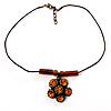 Copper Orange Crystal Floral Pendant - 36cm L/ 3cm Ext