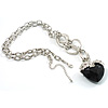 Jet Black Multifaceted Plastic Heart Silver Tone Long Costume Pendant