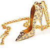 Gold Tone Crystal High Heel Shoe Pendant with Chain - 70cm L